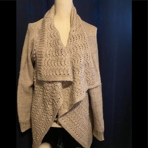 Gold speckled knit American Eagle Shawl sweater